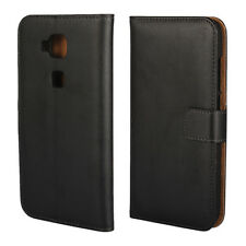 Black Genuine Leather Business Wallet Card Case Cover Stand for Huawei G8