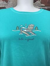 Life is Good M Teal Adirondack Chair Mountains Snow Graphic Printed LS Tee Top