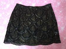 Dejavu Deja Vu NWT Gold Black Beaded Mini Skirt New Iridescent Scalloped Small