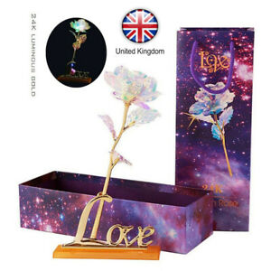 24K Gold Foil Rose Flowers Luminous Galaxy Valentine's Day Gift with Box UK