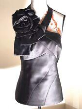 Karen Millen England one shoulder halterneck flower black top size-12 Worn Once