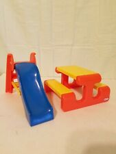Little Tikes Dollhouse Places Picnic Table and Slide 5594 Vintage 1989 Preowned