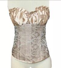 Ladies Boned Corset Top Bustiers Lace Up Champaign Plus Size 2X