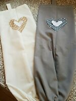 HANDMADE  CARRIER BAG HOLDER/DISPENSER -GREY OR CREAM WITH SPOTTY HEARTS