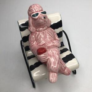 Pink Poodle on Lounge Chair Salt Pepper Shakers Vander Pelzman Designs 1995