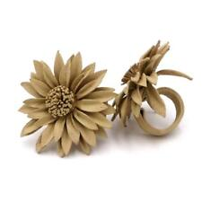 Cream Leather Daisy Flower Ring - 4 cm - Adjustable - Handmade in Indonesia