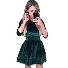 NEW Women's Long Sleeve Bodycon Velvet Evening Party Cocktail Slim Mini Dress