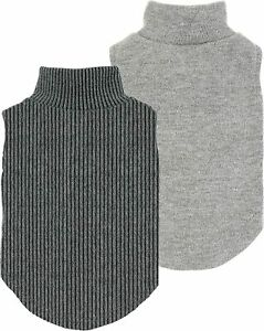 Fitwarm 2-Pack Turtleneck Dog Sweater Puppy Winter Clothes Doggie Knitted Shirt