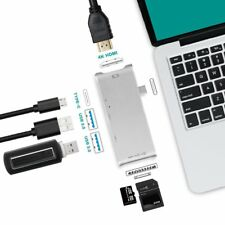 Hub Dual USB-C con USB 3.0 - HDMI 4K - Lettore di Schede SD e Micro SD per Mac