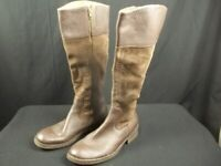 Born Riding Boots Brown Leather Suede Size 10 Tall Side Zip