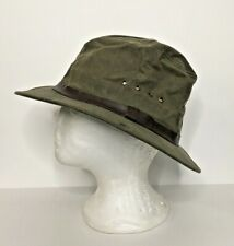 Filson Hat Tin Cloth Packer Size Small Bonded Leather Waxed Cotton Green