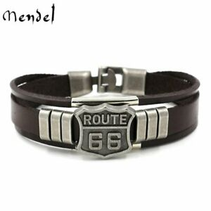 MENDEL 7 Inch Mens Motorcycle Route 66 Leather Biker Bracelet WristBand For Men