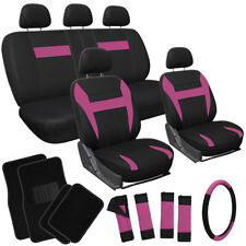 21pc Set Pink Black Car Seat Covers/Floor Mat/Steering Wheel/Belt Pad/Head Rests
