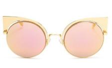 Fendi Womens Gold Round Cat Eye Sunglasses 0612