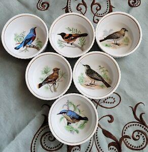 LOURIOUX LE FAUNE, 6 Ramekins, Birds, Porcelain,  France