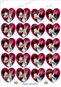 Mickey & Minnie Valentine Heart Cupcake Topper Edible Icing 20 X 5cm