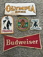Vintage Budweiser Hamms Olympia Grizzly Schmitz Embroidered Fabric Logo Patches