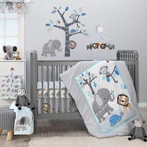 Bedtime Originals Jungle Lion 3 Piece Baby Cot Bedding Set Blue Quilt Sheet