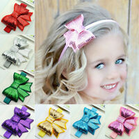 Cute Baby Girls Kid Sequin Bowknot for Headband Hair Band Bow Accessory Headwear