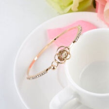 Elegant Gold Plated Women Bracelets Crystal Rose Flower Bangle Cuff Jewelry