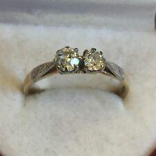 Vintage Solid 18ct Gold 2 Stone European Cut Diamond Engagement Ring Size Q