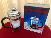 6 Cup Cafetiere Silver PYREX Chrome French Coffee and Tea Press Maker T602