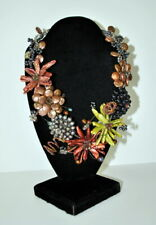 Pearl Statement Necklace 100's of Pearls colorful Black Brown Blue Green Ivory