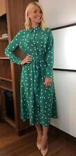 Asos And Other Stories Holly Grren Spot Polka Dot Midi Dhirt Dress 12 Bnwt