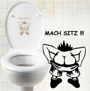 MACH SITZ !!! Toilettendeckel 15cm A16 Hinweis Aufkleber WC Wandtattoo Spruch