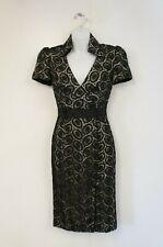 Karen Millen Black Lace Cotton Plunging Collared Neck Pencil Dress (UK Size 8)