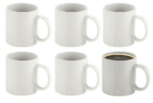 36 White Stoneware Coffee Tea Mugs Wholesale Catering Set Sublimation 11oz