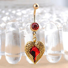 Radiant Love Heart Dangle Wing Body Piercing Crystal Navel Belly Button Ring