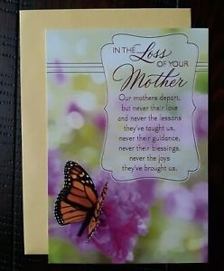 SYMPATHY CARD - Hallmark Greeting Card - In The Loss of Your Mother
