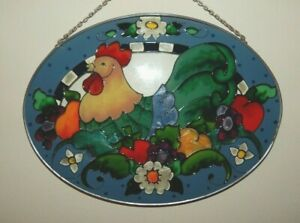 Joan Baker Designs Window Art Hand Painted Glass COUNTRY ROOSTER 6-1/2 by 9 in.