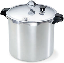 23 Quart Aluminum Pressure Cooker Canner Steamer w Recipe Book and Racks Pot Pan