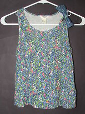 NEW FOREVER 21 GIRLS SIZE MEDIUM BLUE/PINK FLORAL PRINT RUFFLE BOW STRAP TOP