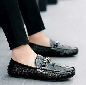 Mens Leather alligator print Loafers Moccasin Gommino Driving Slip On Shoes size