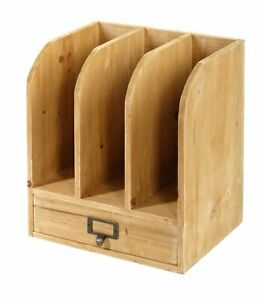 Small Rustic Wooden Office Desk File Storage Holder With Drawer Letter Organiser