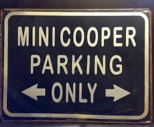 Mini Cooper Parking Metal Sign /  Vintage Garage Wall Decor (30 x 20cm)