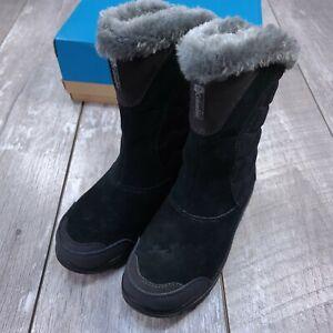 Columbia Ice Maiden II Waterproof Boots Women's Size 5 Black Gray Omni-Grip
