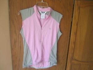 Pearl Izumi Women's Pink Gray Sleeveless Half Zipper Cycling Shirt Large
