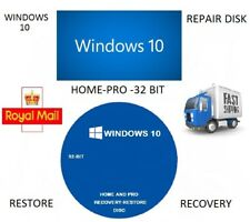 WINDOWS 10 REPAIR-RECOVERY-RE-INSTALL DISK HOME-PRO 32