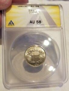1883 5C Shield Nickel ANACS AU-58 Blinding!