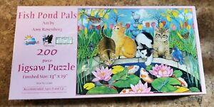 NEW SEALED Amy Rosenburg 200 piece 'Fish Pond Pals' puzzle cats kittens birds