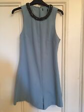 Topshop Beaded Embellished Crystal Neckline Playsuit All In One Shorts Pale Blue
