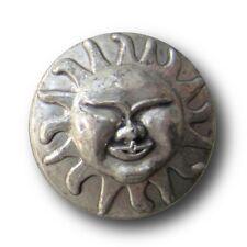 10 historisch wirkende altsilberfarbene Kunststoff Knöpfe mit Sonne (5464as-15)