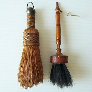 Vintage Small Whisk Broom & Horsehair Brush with Turned Handle -possibly Shaker