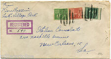USA. REGISTERED FROM LAKE VILLAGE ARK. TO NEW ORLEANS, 1950, 3 STAMPS          m