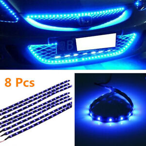 8Pcs Flexible 12V Blue 15LED SMD Waterproof Car Auto Grille Decor Lights Strips