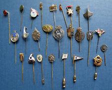 26 ANTIQUE STICK & LAPEL PINS - Military British German & Organizations